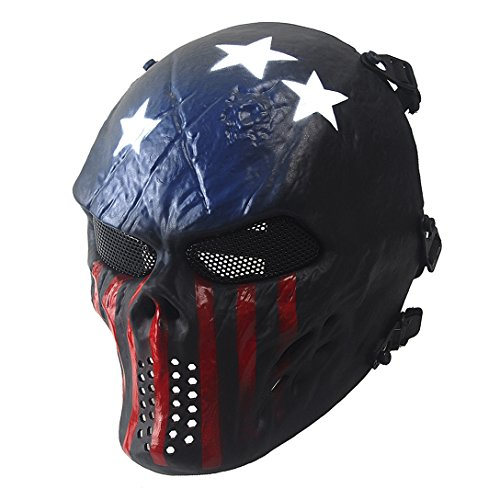 Airsoft Mask, Skull Skeleton Full Face Masks with Metal Mesh Eye Protection Army Fans Supplies M06 Tactical Mask for Halloween BB Paintball Gun Patriots CS Game Cosplay and Masquerade Party (Captain)