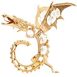 Gold Plated Fierce Dragon with Crystal Ornament