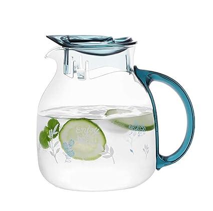 Jarra de Agua Cristal Agua Jarra Botella de Cristal con Tapa ...