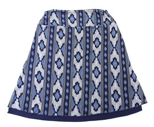 Reversible Spandex Skirt (Tranquility Womens Reversible Skirt, Navy Ikat (Small))