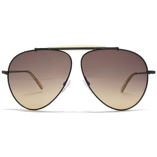 Bottega Veneta Für Mann 159 Shiny Black / Honey / Brown Gradient Metallgestell Sonnenbrillen 3eWkrR