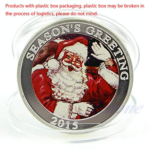 (Cicitop Seasons Greetings Silver Plated Commemorative Coin Merry Christmas Collection Commemorative Collectible Coin)