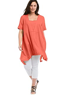 5edc38d84bb Ellos Women s Plus Size Oversized Linen Blend Tunic at Amazon ...