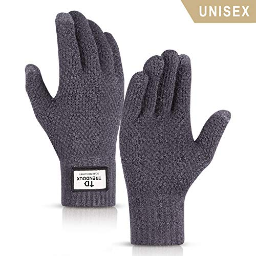 es for Men, Unisex Knit Touch Screen Minimalism Glove Women Texting Smartphone Driving - Thermal Soft Wool Lining - Elastic Cuff - Keep Warm in Cold Weather - Gray - L ()