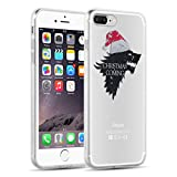 iPhone 8 Plus, iPhone 7 Plus Clear Cas, JAMMYLIZARD Invisible Gel Christmas Sketch Clear Design Back Cover, Christmas is Coming