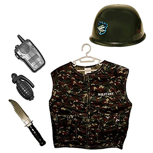 Army Costume Childrens Pattern (Kids Army Combat Vest with Helmet and Military Gear - Costume Set Includes Radio, Plastic Grenade, Helmet and Commando Knife - Camouflage Tactical Vest Dress Up Pretend Play Costume)