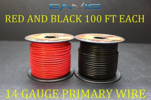 14 GAUGE WIRE ENNIS ELECTRONICS 100 FT RED 100 FT BLACK PRIMARY REMOTE HOOK UP AWG COPPER CLAD