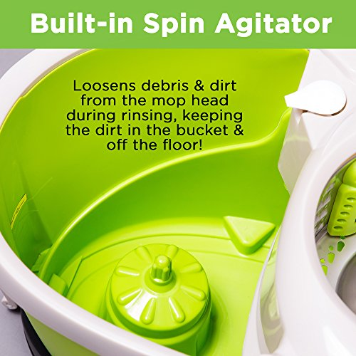 Mopnado Stainless Steel Deluxe Rolling Spin Mop with 2 Microfiber Mop Heads - Lime>