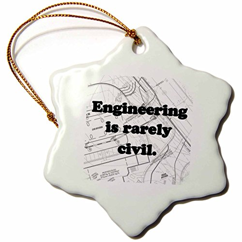 3dRose orn_149859_1 Engineering is Rarely Civil Engineer Snowflake Porcelain Ornament, 3-Inch