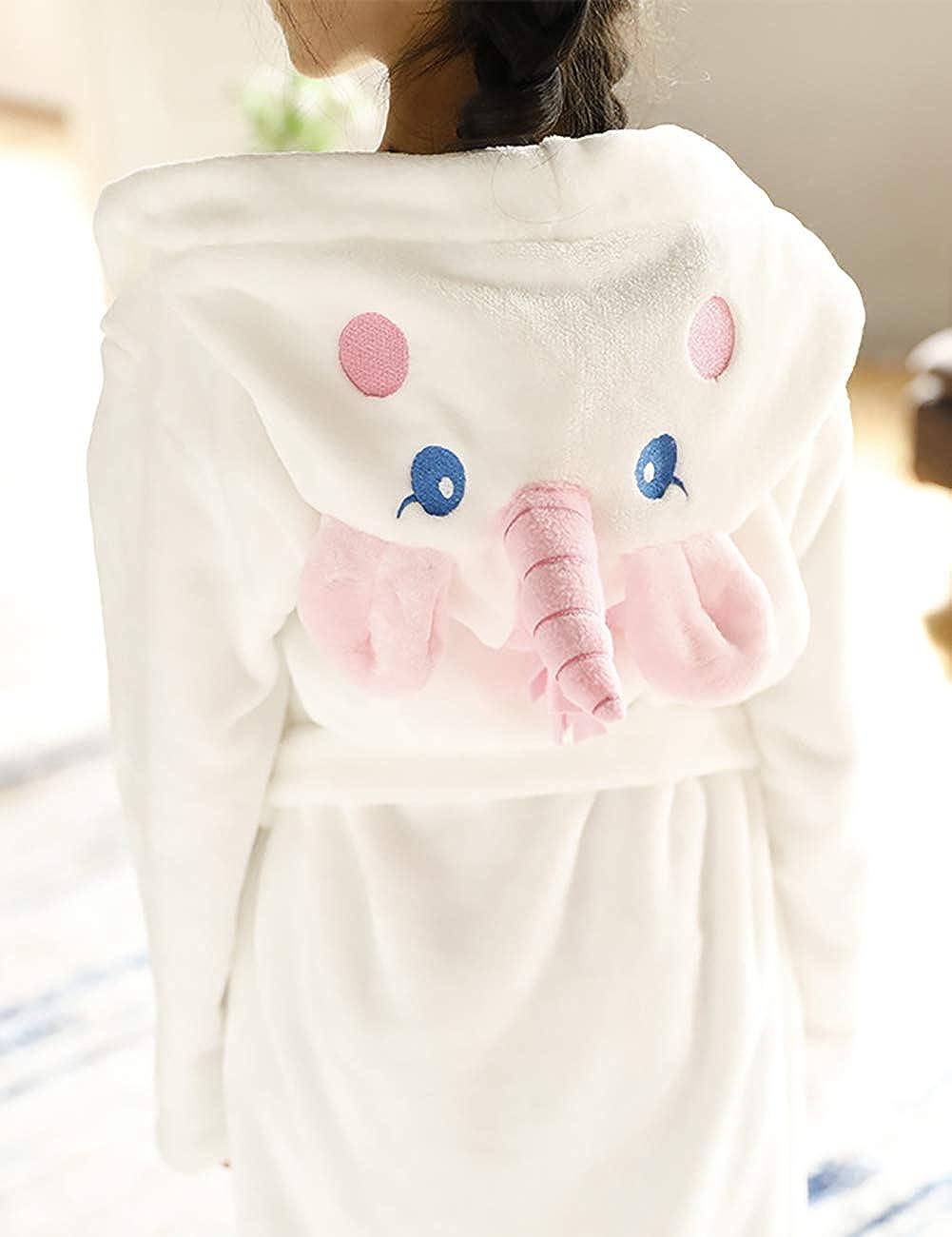 CYTCreation Unisex Baby Plush Bathrobe Animal Face Unicorn Hooded Robe Bath Towels: Clothing