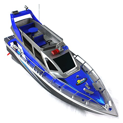 (Police Speed RC Boat Electric Full-Function Big-Size 4-Channel Patrol Craft Remote Control Boat with Rechargeable Batteries)