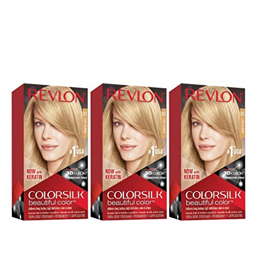 Revlon Colorsilk Beautiful Color, Permanent Hair Dye with Keratin, 100% Gray Coverage, Ammonia Free, 27 Light Blonde (Pack of 3)