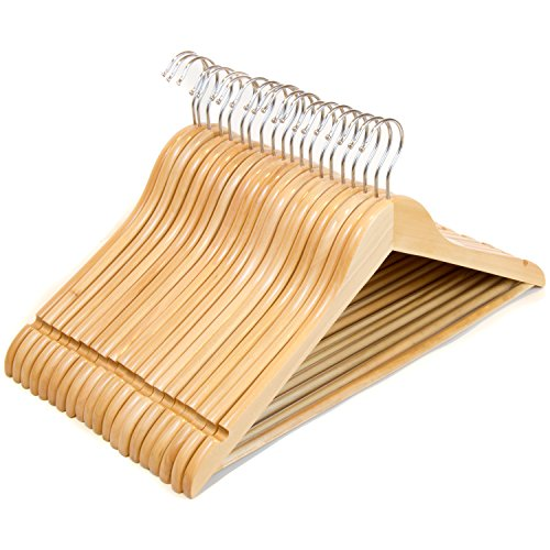 Clutter Mate Wood Clothes Hangers Natural Wooden Coat Hanger 20-Pack