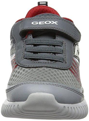 Geox J Waviness Boy C, Zapatillas Para Niños Gris (Grey/red)