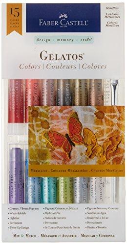 Faber-Castell Gelatos Colors Set, Metallics - Water Soluble Pigment Crayons - 15 Metallic Colors