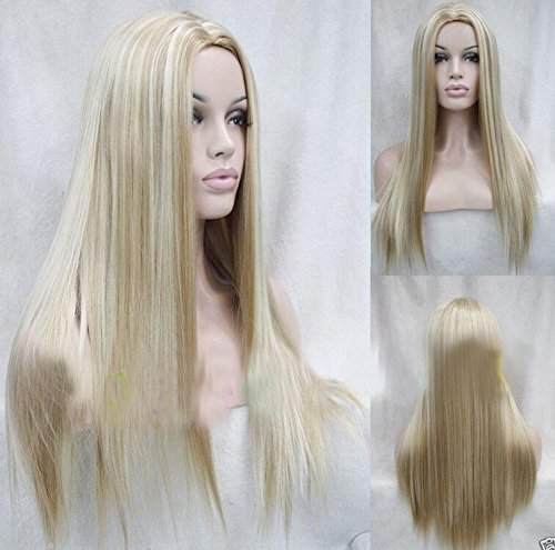 [Women's New Long Straight Mix Blonde Fashion Wig Sexy Natural Hair Cosplay Wigs] (Long Sexy Wigs)