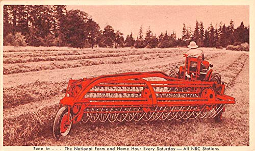 Advertising Post Card New power driven side delivery rake and tedder Tune in NBC Stations 1949