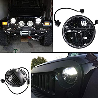 Funlove 7 Inch Black Daymaker LED Round Headlight High Low Beam lamp Halo for Jeep Wrangler JK TJ LJ Motorcycle Offroad Vehicles Harley Davidson: Automotive