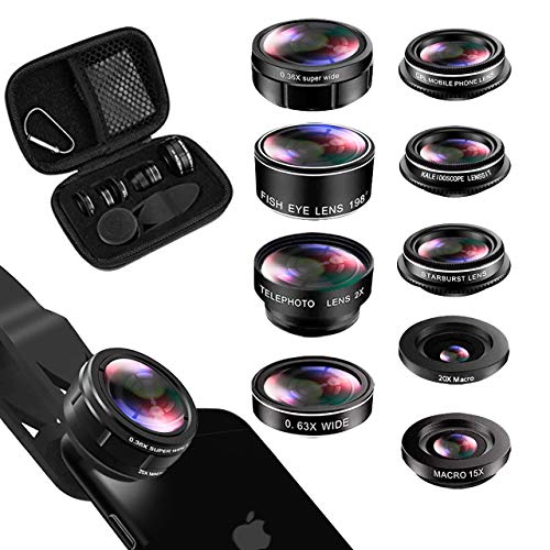 - iPhone Lens Kit, Phone Lens for Andriod, KEYWING HD Cell Phone Lens for iPhone Xr, 7 Plus, 8 Plus, Xs max, Samsung. Macro+Telephoto Zoom+Fisheye+CPL+Wide Angle+Starburst+Kaleidoscope Lens