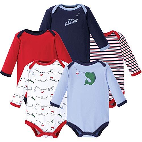 Luvable Friends Unisex Baby Long Sleeve Cotton Bodysuits, Fish 5 Pack, 6-9 Months (9M)