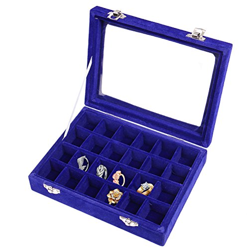 Blue Ring Tray - Pasutewel Earring Storage Case 24 Compartments Ring Velvet Display Case Box Earring Ring Organizer Velvet Jewelry Tray Cufflink Storage Showcase with Clear Glass Lid Blue