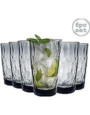 Bormioli Rocco 350260 Diamond Ocean Blue Longdrinkglas, 470 ml, glas, blauw, 6 stuks