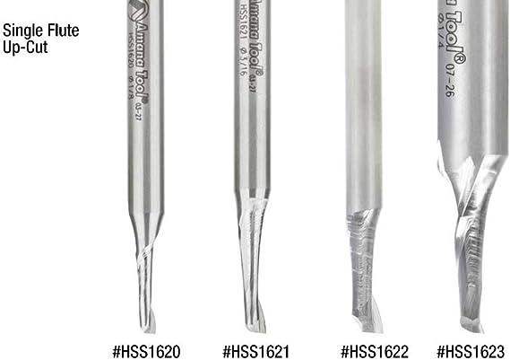 HSS Amana Tool HSS1623 High Speed Steel Single Flute Spiral Aluminum Cutting 1//4 Dia x