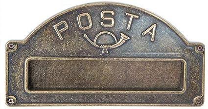 Placca buca per lettere in ottone con doppio decoro arredo porta ingresso
