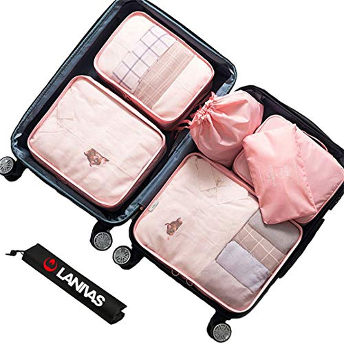 Packing Cubes,Lanivas 7 Set Compact Travel Organizers with Laundry and Shoe Bag Light Pink