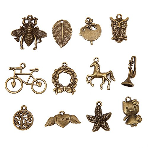Bingcute 100pcs Mixed type Antique Bronze Charms For Jewelry (Mixed Jewelry)