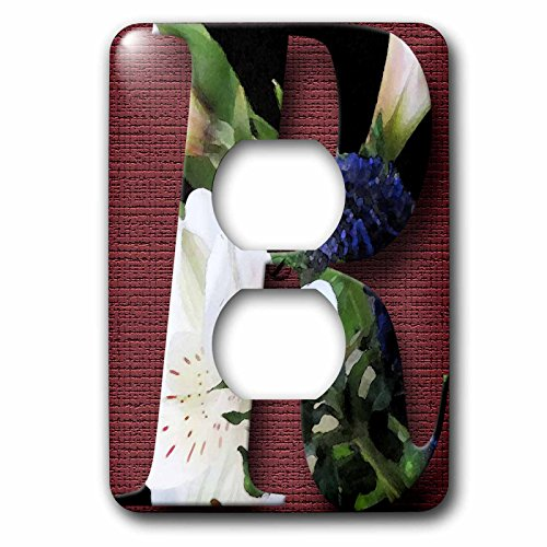 3dRose Jos Fauxtographee- Alphabet R - The Letter R on a purple and white bed of flowers on a plum backing - Light Switch Covers - 2 plug outlet cover (lsp_280043_6)