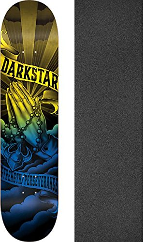 副詞自信がある家具DarkstarスケートボードSalvationブラック/ブルー/イエロースケートボードデッキ – 8.125 X 31.8 CMでMob Grip Perforated Griptape – 2アイテムのバンドル