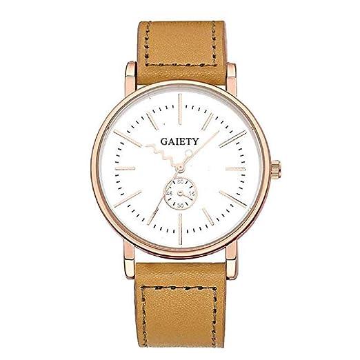 ¡Promoción Relojes de Cuarzo para Hombre Liquidación Relojes analógicos únicos en Oferta Relojes de Pulsera de Cuero para Hombres (Caqui): Amazon.es: ...