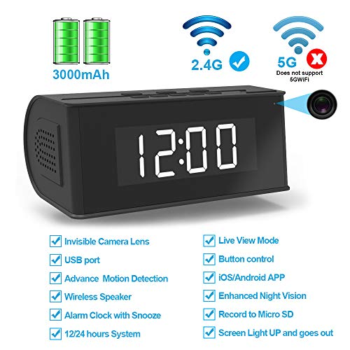 Hidden Camera WiFi Alarm Clock,FUVISION Wireless Speaker Covert Camera with Night Vision,Motion Detection Nanny Camera,SD Card Record,App Live Control and Viewing Security Camera for Home and Office (Best App For Recording Live Music)