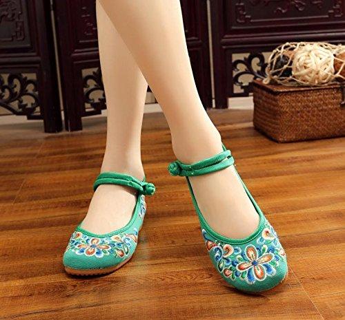 El Verde Zapatos Bordado Étnico Estilo Gamuza Zapatos De Tendón Aumento En Moda Cómodo Mn Suela Mujeres Casual qw6aa4