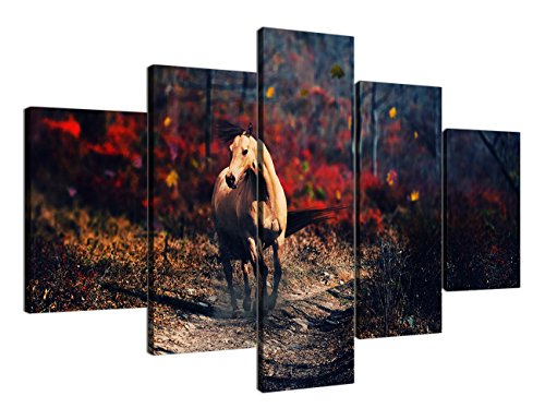 Yatsen Bridge Retro Animal Horse Painting on Canvas Extra Large 5 Panel Horse Wasteland Giclee for Living Room Stretched Framed Varying Size Ready to Hang(70''W x ()