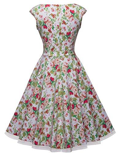 HOMEYEE Damen Empire Kleid, Einfarbig Gr. 36, Weiß - Weiß