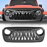 ICARS Jeep Wrangler JL JLU Grill, Shark Grille for 2018-2019 Jeep Wrangler JL JLU Unlimited Rubicon Sahara, ABS - Matte Black