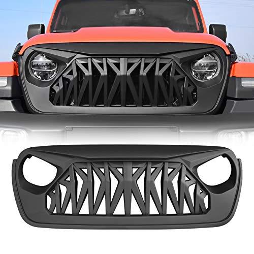 ICARS Jeep Wrangler JL JLU Grill, Shark Grille for 2018-2019 Jeep Wrangler JL JLU Unlimited Rubicon Sahara, ABS - Matte Black ()