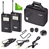 Wireless Camere Lavalier Microphone Filmmaker Kit, EACHSHOT COMICA CVM-WM100 Professional UHF 48 Channels 100m Distance Omni-directional Mic for Canon Nikon Panasonic Sony, Camcorder,Smartphone