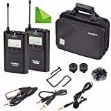 Wireless Camere Lavalier Microphone Filmmaker Kit, EACHSHOT COMICA CVM-WM100 Professional UHF 48 Channels 100m Distance Omni-directional Mic for Canon Nikon Panasonic Sony, Camcorder ,Smartphone