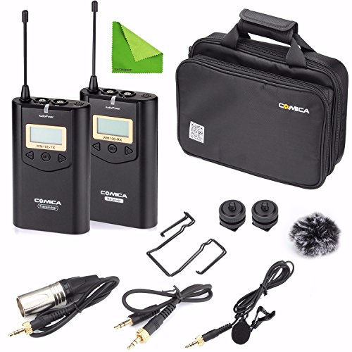 Wireless Camere Lavalier Microphone Filmmaker Kit, EACHSHOT COMICA CVM-WM100 Professional UHF 48 Channels 100m Distance Omni-directional Mic for Canon Nikon Panasonic Sony, Camcorder ,Smartphone (Wireless Microphone Lavalier Kit)