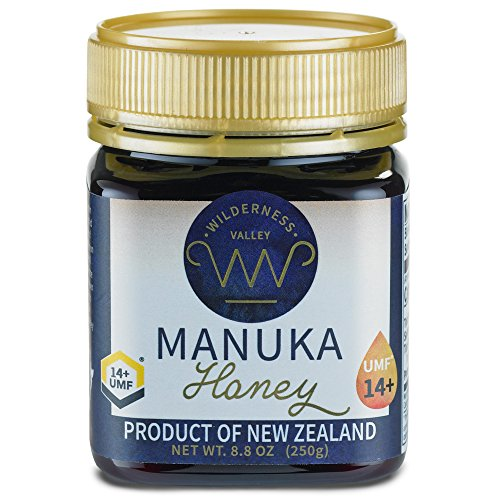 New Zealand Manuka Honey By Wilderness Valley (UMF 14+) 8.8 oz Jar, Sustainably Produced on High Country Farm, Pure & Natural