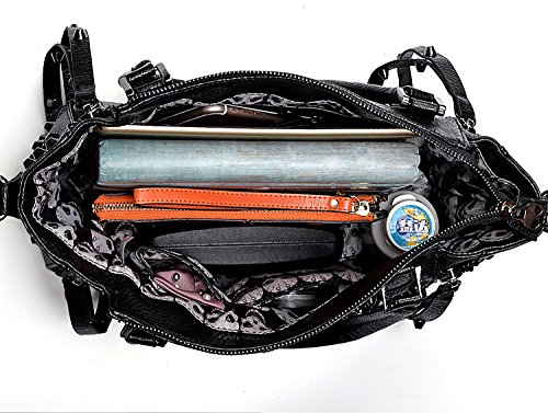 de PU grand Main Porte Noir cabas UTO Cuir Noir rivets Une mort sac à souple Sac 2 Série motif Femme Monnaie tête de Synthétique TTpt4