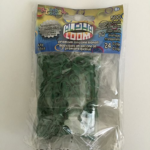 Rainbow Loom Dark Green Alpha Loom Refill Rubber Bands-570 Bands & 24 C-Clips from (B0236)