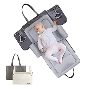 HAHASOLE Portable Baby Changing Pad Diaper Bag with Padded Mat & Foldable Travel Changing Station Great for Newborns (Grey)