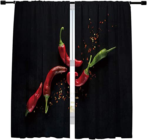 Misscc Blackout Curtains Chili Peppers on a Black Background Window Curtains,Window Treatments Draperies for Bedroom Living Room Kitchen Cafe 2 Panels Set