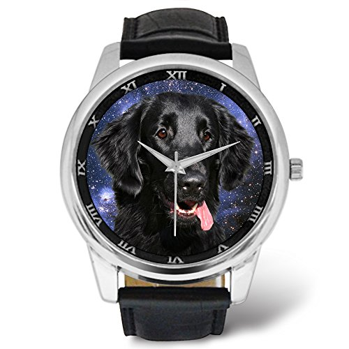 Watch Retriever Flat (Made dad Watches Printed Dog Themed - Flat Coated Retriever Dog Starry Sky)