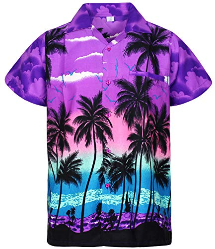 Funky Hawaiian Shirt, Beach, purple, L