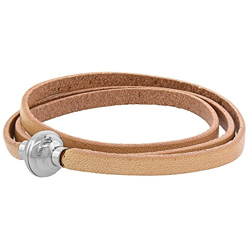 Quality Full Grain Tan Leather Wrap Bracelet Stainless Steel Magnetic Clasp Italy 22.5 inch ()
